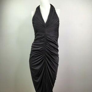 Solid Gray Halter Dress Ruffles Zipper back Evenin